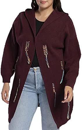 Miss Rouge - Giubbotto in lana, cardigan in Tricotti, con cappuccio, taglia grande