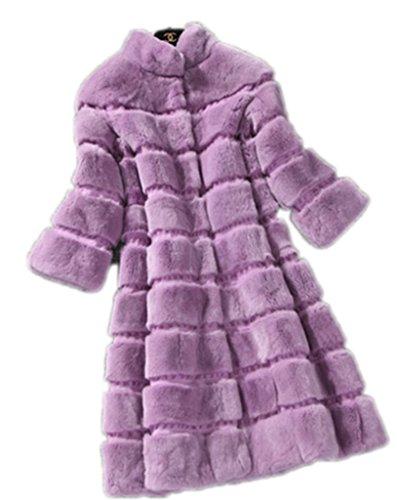 YR.Lover Demen 100% Echt Rex Kanichen Pelz kurz Sleeve Lange Mäntel&Jacken Purple
