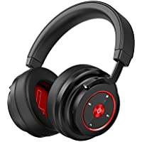 Over-Ear Headphones with Deep Bass, 4.1 Bluetooth Wireless Headset Noise Cancelling & Foldable, HiFi Stereo, Comfortable Protein Earpads for PC, Smartphones, TV and Traveling, Calls, Sport & Running (Black-red)