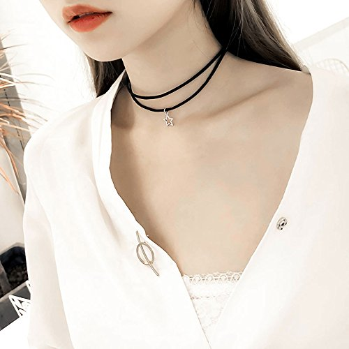 BAOZIV587 Halskette weibliche Schlüsselbein Kette kurzes Halsband einfache Schüler Sen Hals Schmuck hundert passende Zubehör, Kamel hohlen fünfzackigen Stern