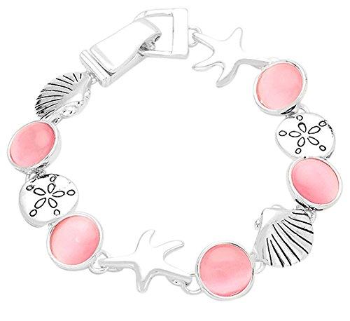 Silber Ton Magnetverschluss Seestern, sand dollar, Muscheln W/Pink Acryl Steine Charme Armband