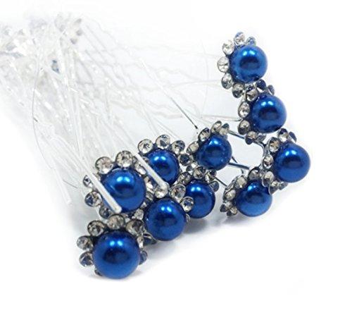 Accessoires mariage cheveux 1 lot de 10 épingles à chignon perle à strass - bleu