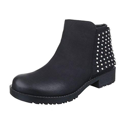 Komfort Stiefeletten Damen Schuhe Schlupfstiefel Blockabsatz Strass Besetzte Reißverschluss Ital-Design Stiefeletten Schwarz