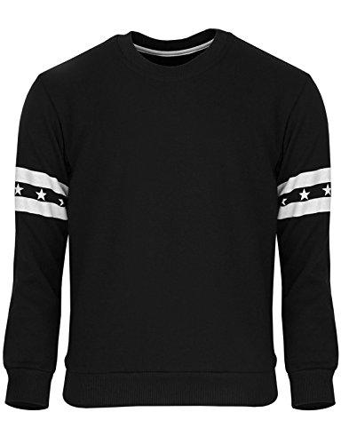 BCPOLO Männer Langarmshirt Cotton T-Shirt mit Rundhalsausschnitt Casual T-Shirt Black