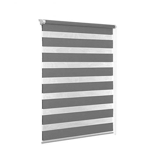 HENGMEI Verdunkelungsrollo Fensterrollo Balkontür Rollo Duo-Rollo Doppelrollo ohne Bohren Klemmrollo Easyfix Fenster (Grau, 100 * 175cm)