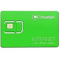 ChatSim 2(Internet + Chat)–Internationale Sim Karte für Surfen in über 150Ländern und gratis Chatten mit WhatsApp und die anderen chatapp