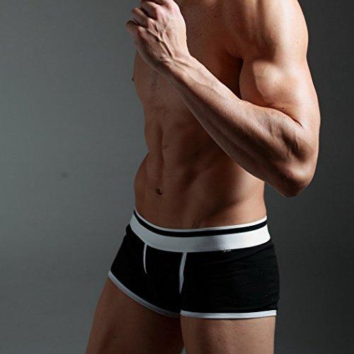 Xuba Herren Boxershort Sexy Low Rise Retroshort Baumwolle Unterwäsche Unterhosen Boxer Briefs Trunks Hipster(Farbe wählbar) Schwarz