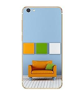 PrintVisa Orange Couch High Gloss Designer Back Case Cover for vivo X7