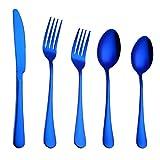 Huihong Geschirr Sets, 4 stücke Edelstahl Gehobenen Besteck Besteck Gabel Löffel teelöffel (Blau-5 Stück)