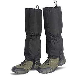 Unigear Polainas 1 Par Impermeable Prueba De Viento Nieve Lluvia Protección para Las Piernas para Montaña Senderismo Caza Esquí Escalada Guardia Anticorte Transpirable (Negro, L)
