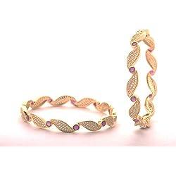 Suman Jewels Gold Metal Cubic Zirconia Rhodium Bangle Set for Women(2.4)