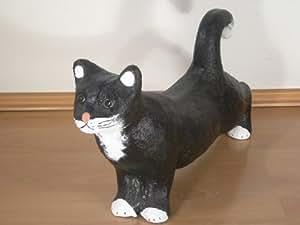 Unbekannt Figur Katze Höhe 31 cm Tierskulptur aus Kunstharz