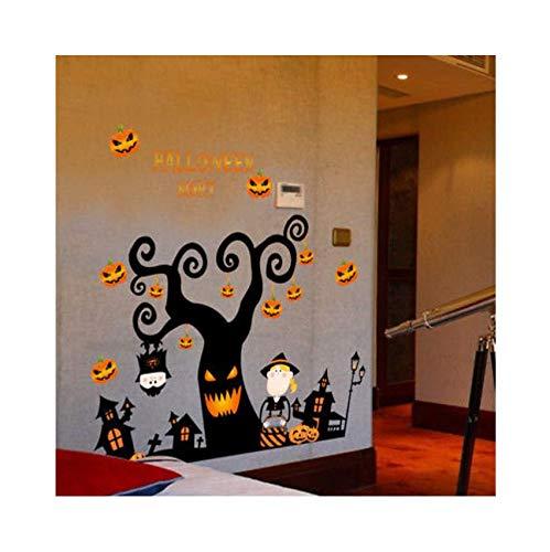 Eeemmm 3D Halloween Pumpkin Light Night Tree Sticker Wall Sticker Bedroom Living Room Floor Sticker Decoration Window Vinyl Applique Sticker 105X72Cm