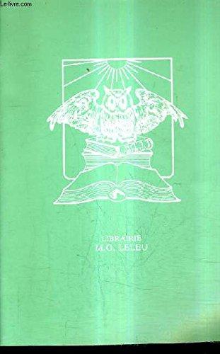 CATALOGUE DE LA LIBRAIRIE M.G. LELEU - LIVRES - HISTOIRE NATURELLE - MEDECINE - PARIS - GASTRONOMIE - LITTERATURE - DIVERS.