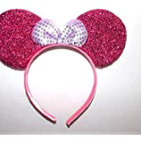 Partysanthe Bow Head Band Gliter Pink With Bow Sliver Minnie Mouse/Mickey Mouse Bow Headband/ Minnie Mouse Ears Headband Hairband Costume Accessory...