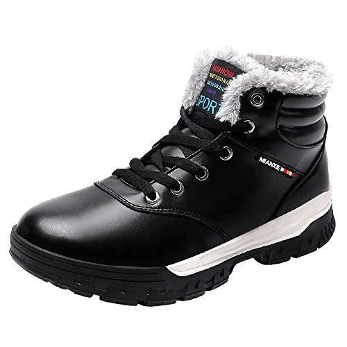 LANSEYAOJI Hombres Botas de Nieve Invierno Calentar Fur Forrado Botines Al Aire Libre Cálido Botas Casual Plano Zapatos con Cordones Cuero Zapatos Deportivos Impermeable Tamaño Grande,Negro,EU43