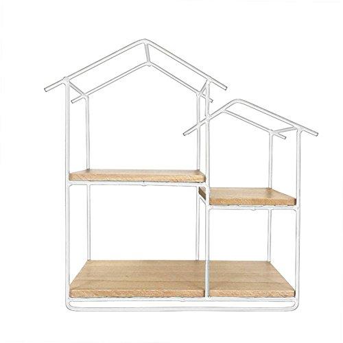 starter Kreatives Eisen-kleines Haus-geformtes Gestell-Hexagon-Regal für Wohnzimmer-Café-Wand-Dekoration R