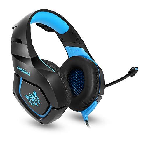 ONIKUMA K1 Stereo Bass Surround Gaming Headset mit Mikrofon für PS4 Xbox One PC2 blau -