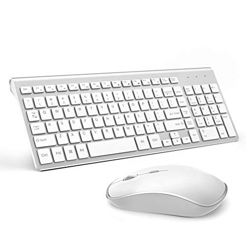JOYACCESS Wireless Keyboards Combo Full-size Whisper-quiet Compact Keyboards and Mouse Combo Silver wireless keyboards combo