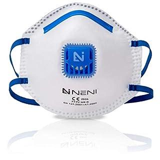 NENI Atemschutzmaske FFP2 im 10er Set - Premium Feinstaubmaske - Anpassbare Atemmaske - Staubmaske gegen Feinstaub - Komfortable Mundschutz Maske