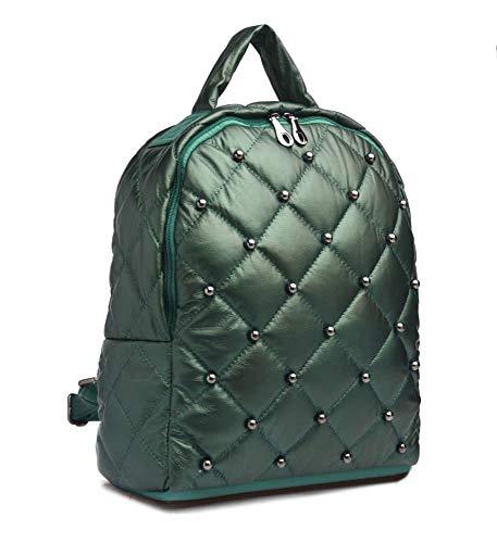 Damen Tasche Rücksack backpack Schultertasche Handtasche gesteppt Modisch Nieten, Farben:grün -
