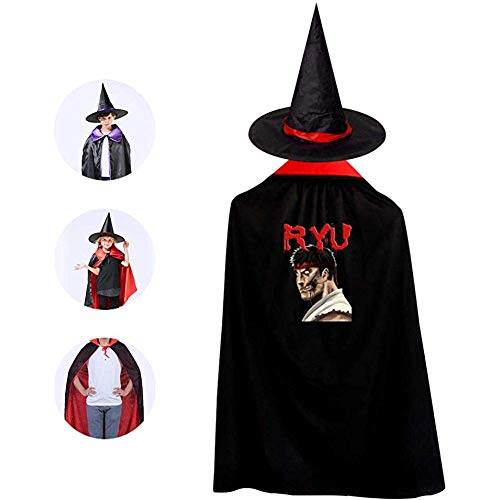Kinder Kostüm Ryu - BYME Kinderzauberer Hexenumhang Halloween RYU Cape in voller Länge mit Hut