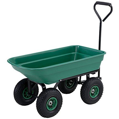 [pro.tec] brouette de jardin (75L - 300kg capacité de charge) (vert) avec fonction de basculement (axe longitudinal et pneus à air)