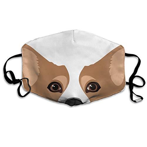 ungen und Mädchen, Anti-Allergien, Anti-Allergie, Ohrschlaufe, Gesichts- und Nasenschutz, Malerei, Polyester-Maske, verstellbarer, elastischer Riemen, süße Corgi-Hundekunst ()