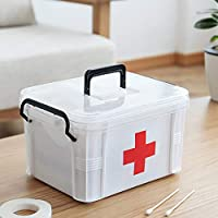 Yeahlvy Household Portable Medicine Box,Plastic 2 Layer Health First Aid Case Storage Box 20.5 * 15.5 * 13.5cm