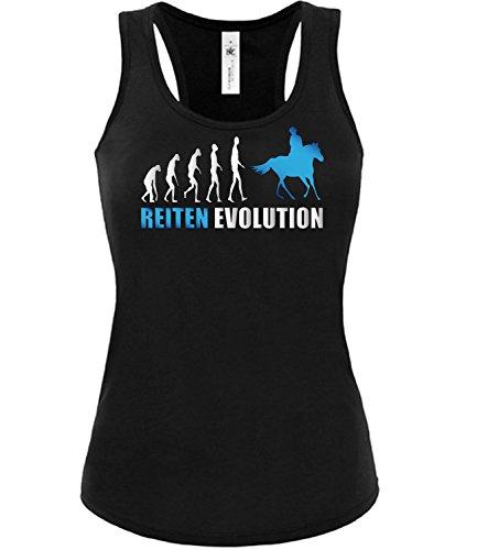 Reiten Evolution 537 Reitsport Frauen Damen Fun Tank Top Funshirt Tanktop Sportbekleidung Fanartikel Shop shirt tshirt Schwarz aufdruck Blau S