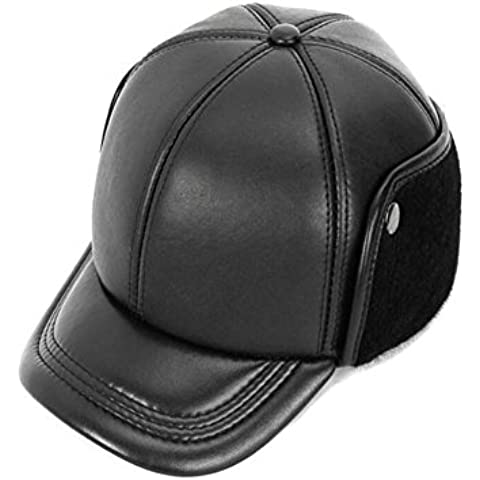 WE&ZHE Men's Hunting Hats high quality Genuine Leather Baseball cap Cap with Faux fur inside warm With cotton Quinquagenarian Outdoor Travel winter Black L / XL / 2XL , xl