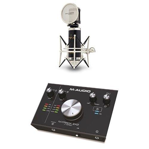 Marantz Pro Mpm-2000 Microfono a Condensatore Cardioide di Alta Qualità con Diaframma Largo e Valigetta in Alluminio + M-Audio M-Track 2X2 Interfaccia Audio USB a 2 Canali con Risoluzione 24Bit/192Khz + Pacchetto Software con Cubase Le, Plugin Air, Strike, Xpand!2 e Mini Grand