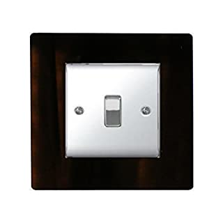 SINGLE LIGHT SWITCH SOCKET COLOURED ACRYLIC SURROUND FINGER PLATE - BUY 2 GET EXTRA 1 FREE (10 COLOURS) (Black)