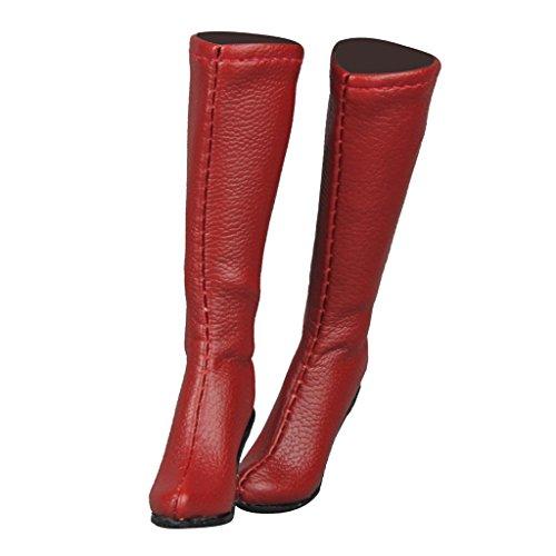 MagiDeal 1/6 Mitte Kalb Knie Stiefel Schuhe Für 12 Zoll Weibliche Action Figur - Rot -