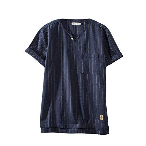 UINGKID Herren T-Shirt, Rundhals-Ausschnitt Slim Fit Art- und Weisemänner Baumwollleinen-festetreifen-Kurzschluss-Hülsen-Retro übersteigt Bluse