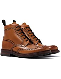 8b11f4498312 Loake Hommes Tan Bedale Cuir Brogue Bottes