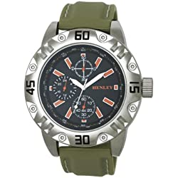 Henley Sports Men'- Armbanduhr Henley Gents Decorative Multi-Eye Zifferblatt Analog-Anzeige und Schwarz-Silikon-Bügel H02078.11 Grün