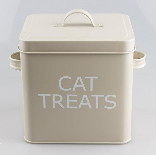 Scatola di latta con coperchio, stile Vintage, ideale per conservare cibo secco per gatti, dolcetti o altro