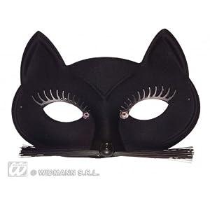 WIDMANN?Máscara Domino de Pussycat Mujer Adulta, Negro, talla única, 6454C