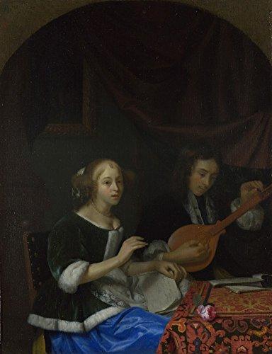 Das Museum Outlet-untergebracht Schalcken-Eine Frau singt und ein Mann mit einer Cister, gespannte Leinwand Galerie verpackt. 29,7x 41,9cm