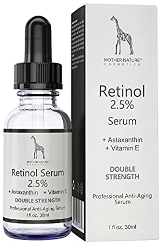 Retinol Serum - Mother Nature® | Anti-Aging - Pflege auch für empfindliche Haut | Hochdosiert 2,5% Retinol für Gesicht & Haut | inkl. Hyaluronsäure und Vitamin E | 30 ml