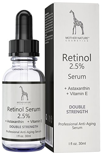 Creme-serum Augen - (Retinol Serum – Mother Nature® | hochdosiert 2,5% | Anti-Aging Pflege für Haut, Gesicht, Dekolleté und Körper | 30 ml inkl. Hyaluronsäure und Vitamin E | für Männer und Frauen)