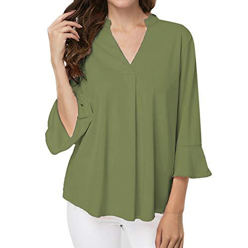 ABsoar Langarmshirt Damen Tunika Shirt Sexy Frauen V-Ausschnitt Bluse Plus Größe Hemd Lotusblatt...