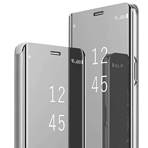 Motorola Handy Cover (Hülle Kompatibel mit Motorola Moto G7 Plus Handyhülle Spiegel PU Leder Flip Hülle Clear View Mirror Ständer Cover 360 grad schutz Überzug PC Schutzhülle Case für Moto G7 (Silber, Moto G7 Plus))