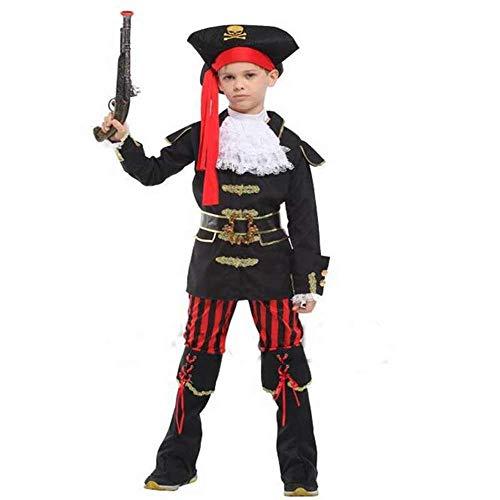 NiQiShangMao Halloween Kinderkostüme Performance Bekleidung Royal Princes Pirates Sailor Captain Cosplay - Captain Black Pirate Kostüm