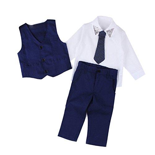 iikids Kinderanzug Jungen Festlich Bekleidungsset 4 pcs Hemd + Krawatte + Weste + Hose Babyanzug Junge Anzug Kleikind Hochzeit 7