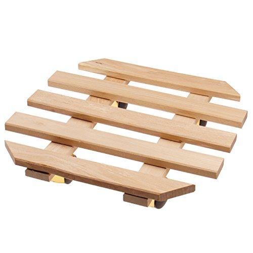 Support porte plantes à roulettes 35 x 35 cm en bois de hêtre - Tablette pour plante avec 4 roulettes