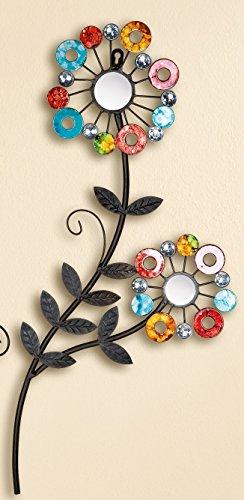 Gilde Pared Decorativa Pared Flores Relieve para Pared con Espejos y acrílico, 33x 66cm
