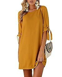 YOINS Sommerkleid Damen Tshirt Kleid Rundhals Kurzarm Minikleid Kleider Langes Shirt Lose Tunika mit Bowknot Ärmeln Aktualisierung-Gelb EU44