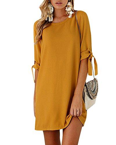 YOINS Sommerkleid Damen Tshirt Kleid Rundhals Kurzarm Minikleid Kleider Langes Shirt Lose Tunika mit Bowknot Ärmeln Gelb EU40-42(Kleiner als Reguläre Größe)
